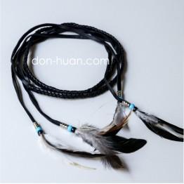 Плетеный ремешок из экокожи (черный)