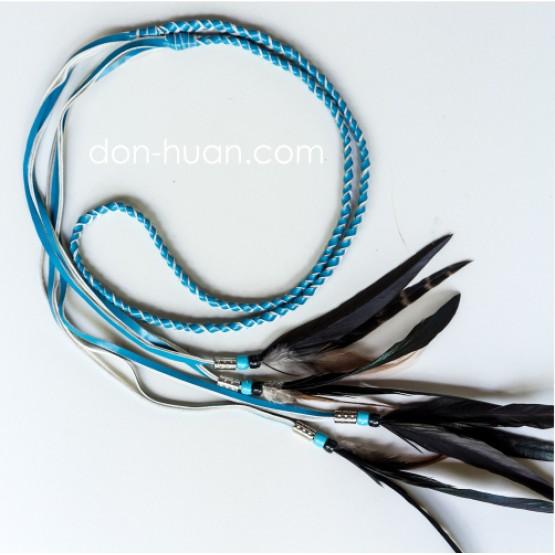 Плетеный ремешок из эко-кожи (голубой)