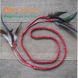 Плетеный ремешок из эко-кожи (красный)