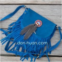 Сумка в стиле бохо из натуральной замши (синяя)