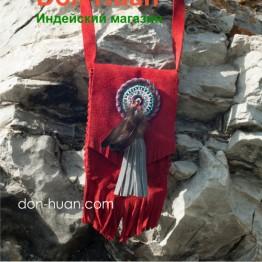 Этническая сумка из натуральной замши (красная)