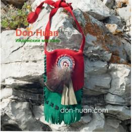 Кожаная сумка ручной работы (зеленый, красный цвет)