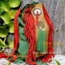 Этно сумка - рюкзачок из натуральной кожи (зеленый, красный, желтый цвет)