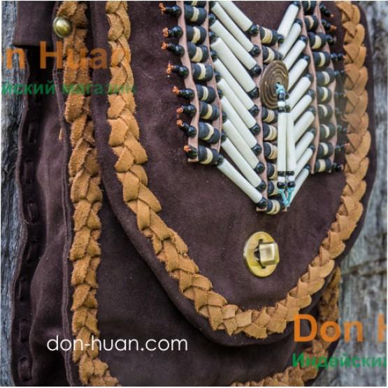 Сумка в этническом стиле из натуральной замши (коричневая)