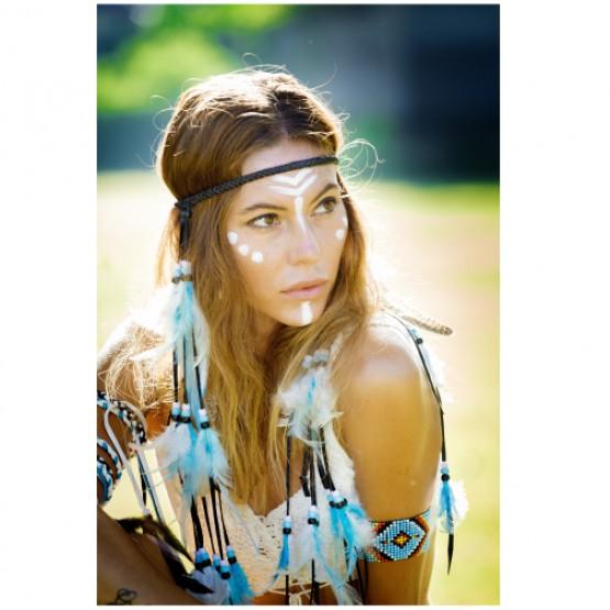 Индейская повязка на голову (голубые перья)