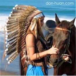 Головной убор индейского воина из перьев «Аренк»