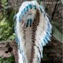 Роуч индейца меховой с голубыми перьями